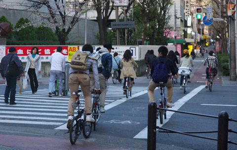 Group of youth cycling across the pedestrian crossing  in Osaka, Japan